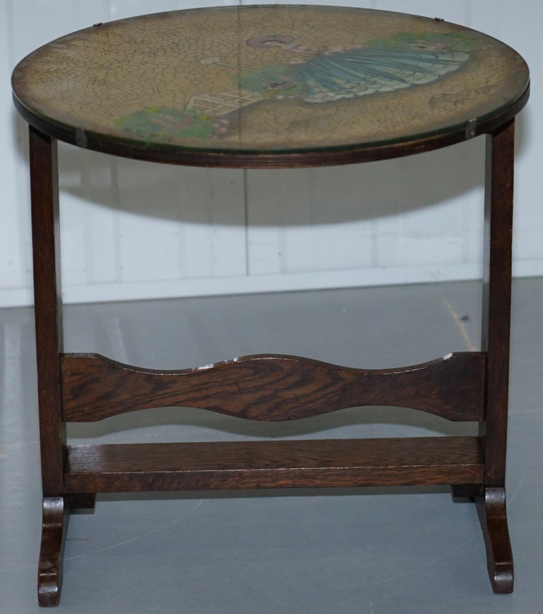 Rare English Oak Tilt-Top Side Table with Hand Painted Picture Glass Case Lovely For Sale 1