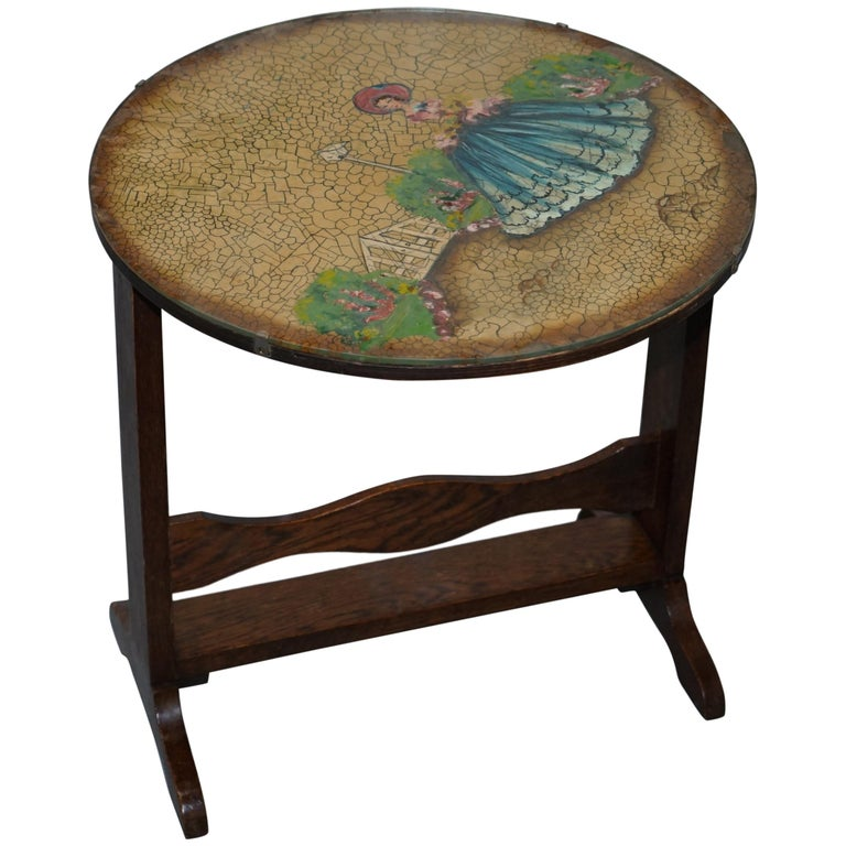 Rare English Oak Tilt-Top Side Table with Hand Painted Picture Glass Case Lovely For Sale