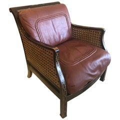Rare English Regency Double Caned Chinoiserie Armchair with Leather Cushions