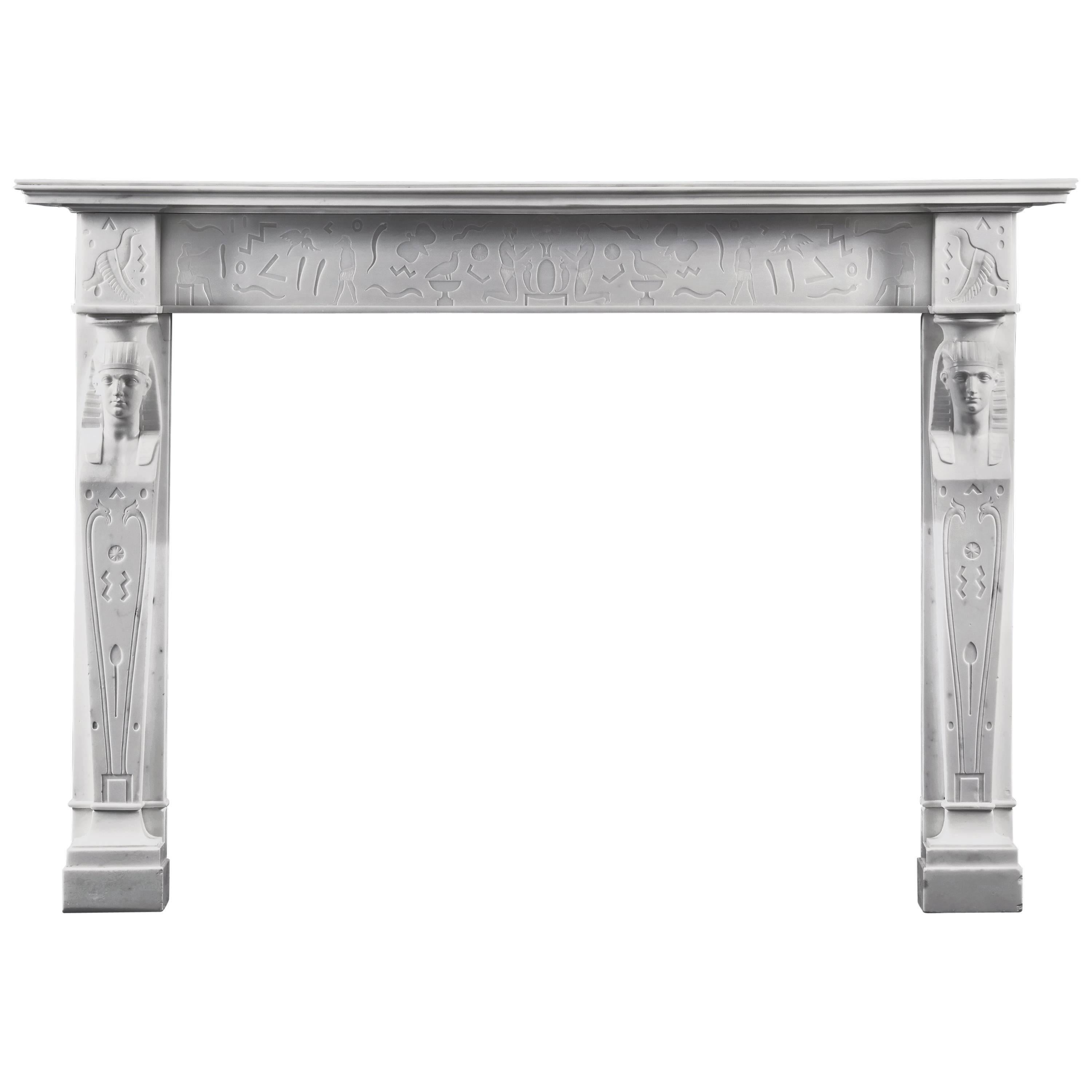 Early 19th Century English Regency Egyptian Style Fireplace in Statuary Marble