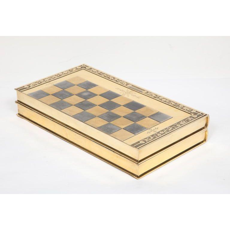 Rare English Silver-Gilt Book-Form Chess and Backgammon Game Board, circa 1976 For Sale 7