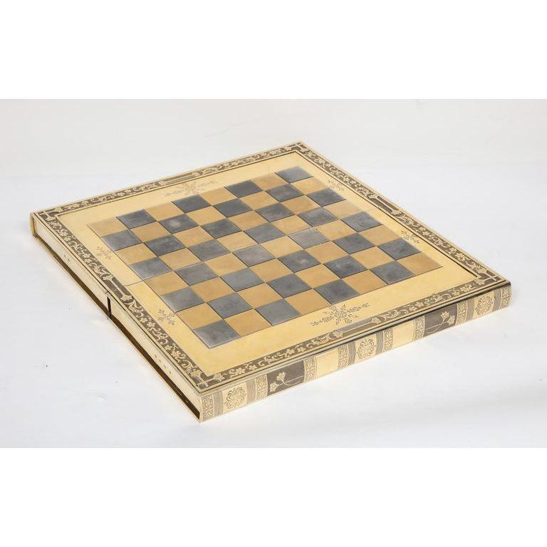 Rare English Silver-Gilt Book-Form Chess and Backgammon Game Board, circa 1976 For Sale 13