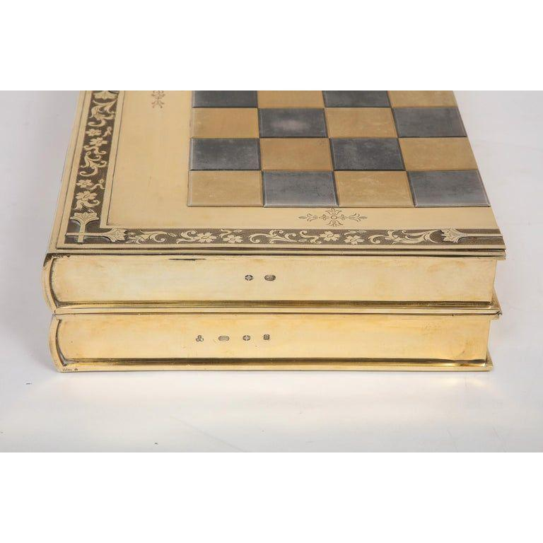 Rare English Silver-Gilt Book-Form Chess and Backgammon Game Board, circa 1976 For Sale 14