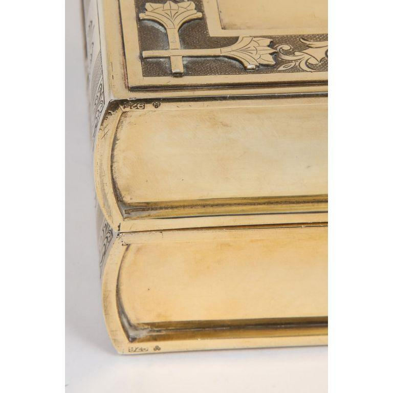 Rare English Silver-Gilt Book-Form Chess and Backgammon Game Board, circa 1976 For Sale 16