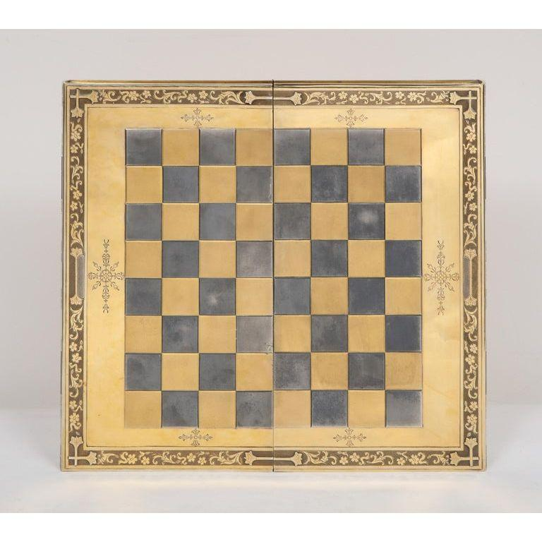 Rare English Silver-Gilt Book-Form Chess and Backgammon Game Board, circa 1976 In Good Condition For Sale In New York, NY