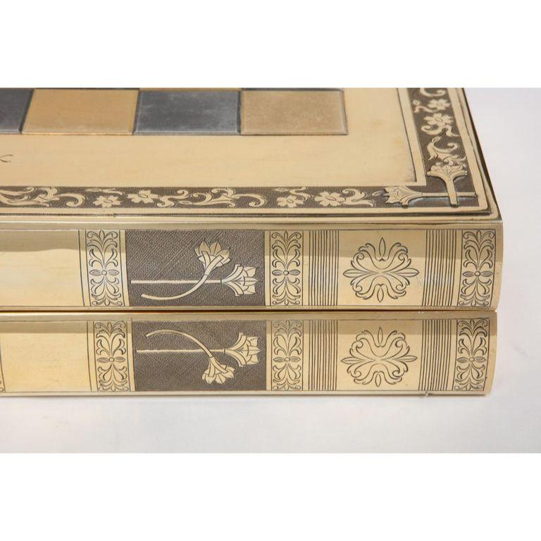 Rare English Silver-Gilt Book-Form Chess and Backgammon Game Board, circa 1976 For Sale 1