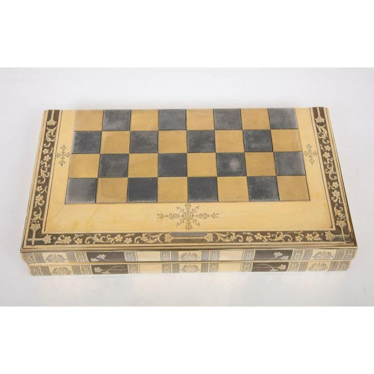 Rare English Silver-Gilt Book-Form Chess and Backgammon Game Board, circa 1976 For Sale 3