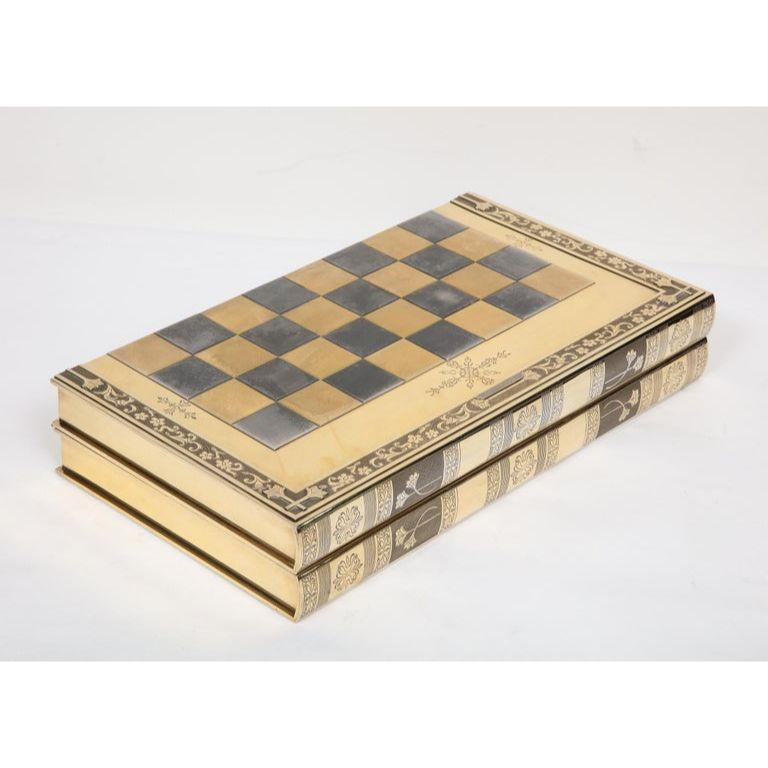 Rare English Silver-Gilt Book-Form Chess and Backgammon Game Board, circa 1976 For Sale 5