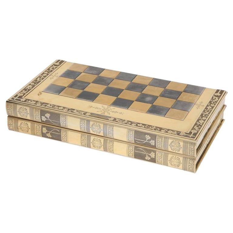 Rare English Silver-Gilt Book-Form Chess and Backgammon Game Board, circa 1976 For Sale