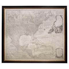 """Rare Engraved """"Map of North America"""", Emanuel Bowen & John Gibson Published 1776"""