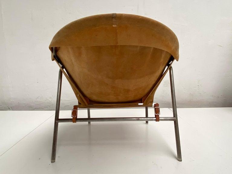 Metal Rare Erik Ole Jørgensen Model BO 360 Suede Lounge Chair, Bovirke, Denmark For Sale