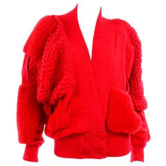 Rare Escada 1980s Red Knit Avant Garde Oversized Vintage Sweater