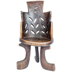 Rare Ethiopian Three-Legged Coptic Chair with Carved Crosses, circa 1950