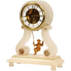 Rare Eugéne Farcot Maiden on a Swing Boudoir Antique French Clock