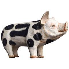 Rare Example of an English Gloucester Old Spot Butchers Papier Mâché Display Pig