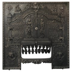 Rare & Exceptional French Cast Iron Fireplace Mantel Front Mid-19th Century 1840