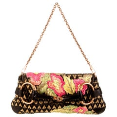 Rare Exotic Gucci by Tom Ford Embroidered Flowers Raffia Horsebit Clutch Bag