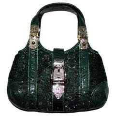 Rare Exotic Gucci GG Monogram BeadedGreen Crystal & Lizard Skin Bag Purse