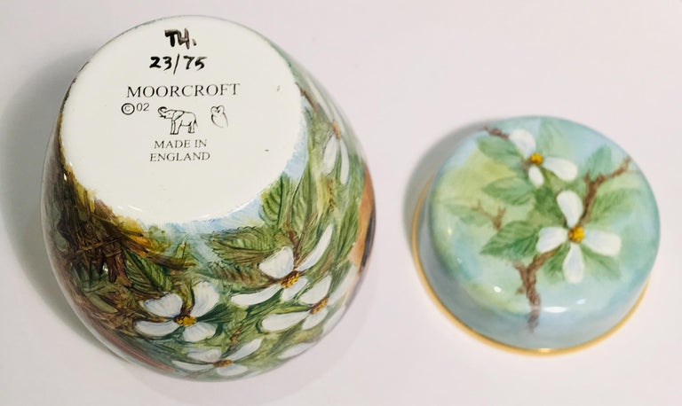 Rare Exquisite Moorcroft Enamel and Gold Limited Edition Miniature Ginger Jar For Sale 8
