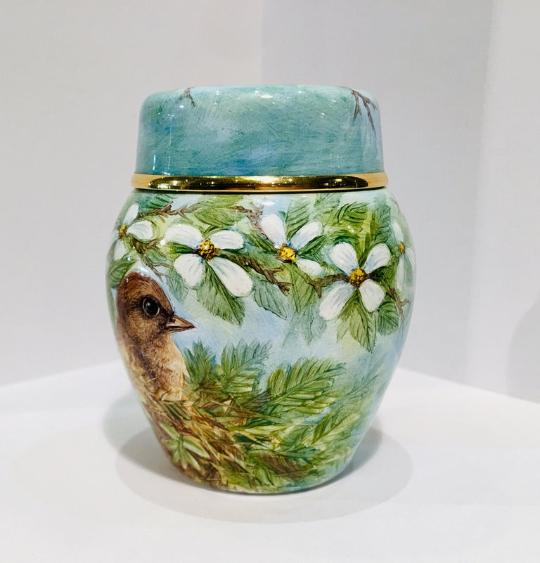 Artisan Rare Exquisite Moorcroft Enamel and Gold Limited Edition Miniature Ginger Jar For Sale
