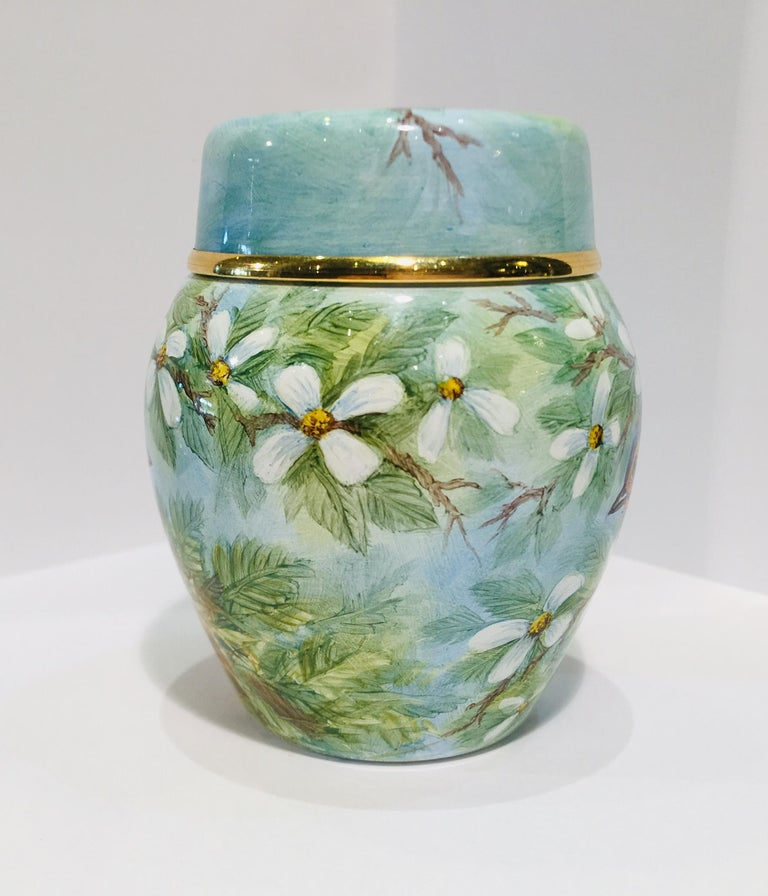 Rare Exquisite Moorcroft Enamel and Gold Limited Edition Miniature Ginger Jar In Excellent Condition For Sale In Tustin, CA