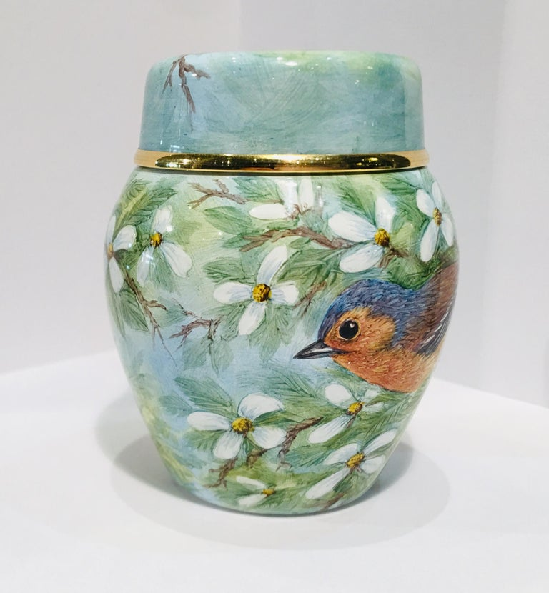 Women's or Men's Rare Exquisite Moorcroft Enamel and Gold Limited Edition Miniature Ginger Jar For Sale