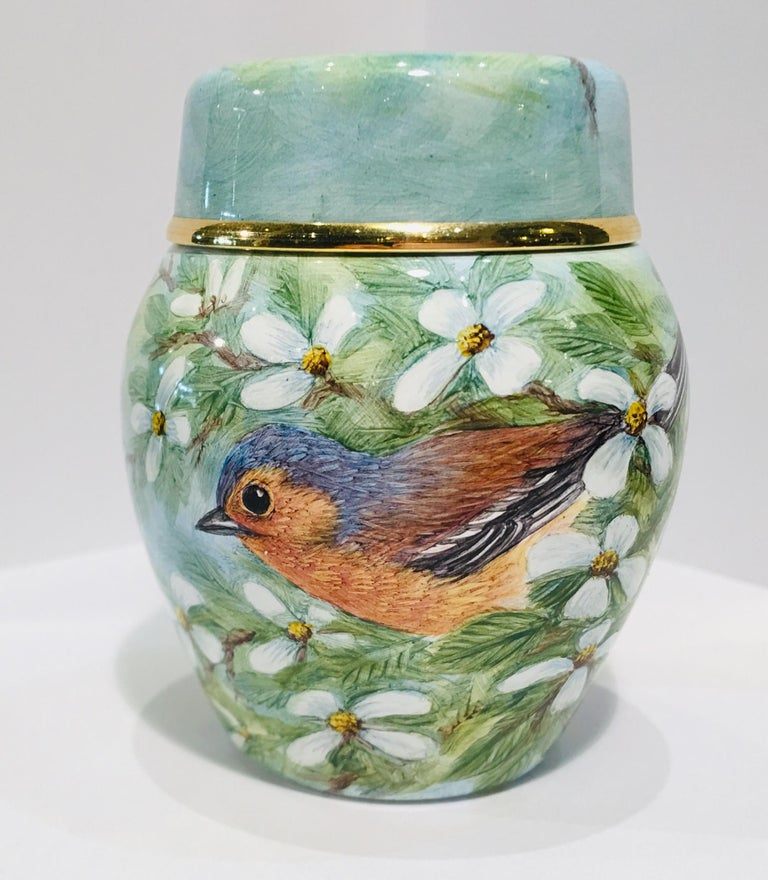 Rare Exquisite Moorcroft Enamel and Gold Limited Edition Miniature Ginger Jar For Sale 1
