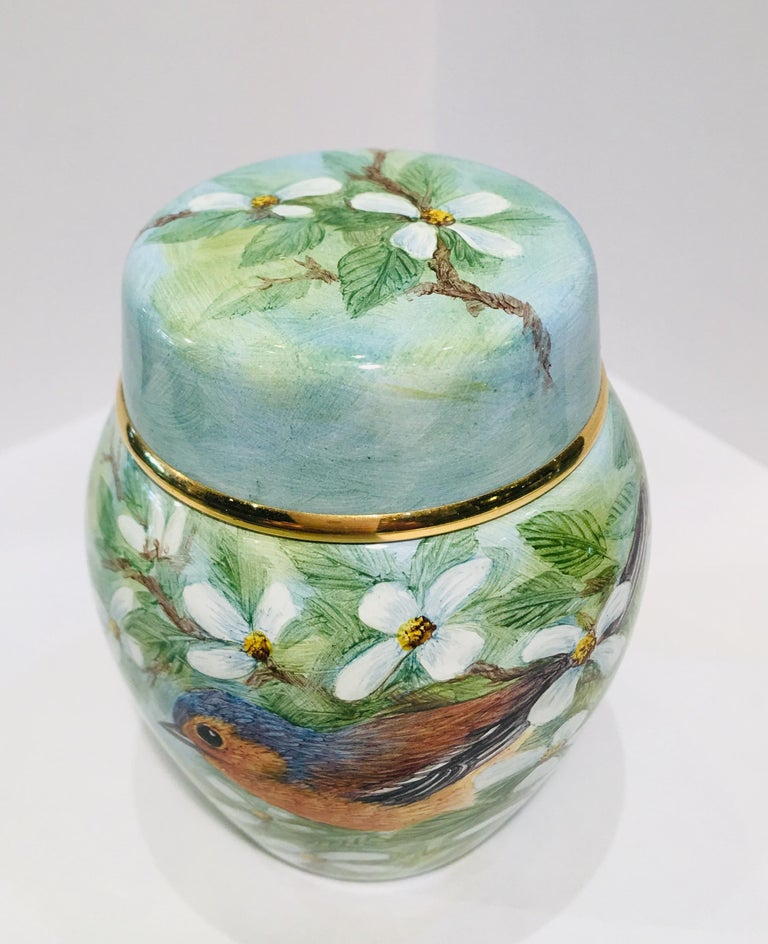 Rare Exquisite Moorcroft Enamel and Gold Limited Edition Miniature Ginger Jar For Sale 2