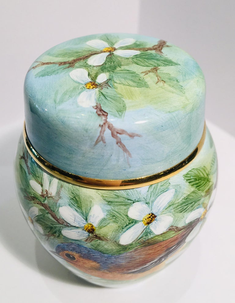 Rare Exquisite Moorcroft Enamel and Gold Limited Edition Miniature Ginger Jar For Sale 3