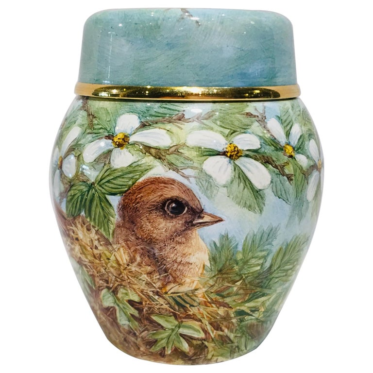 Rare Exquisite Moorcroft Enamel and Gold Limited Edition Miniature Ginger Jar For Sale