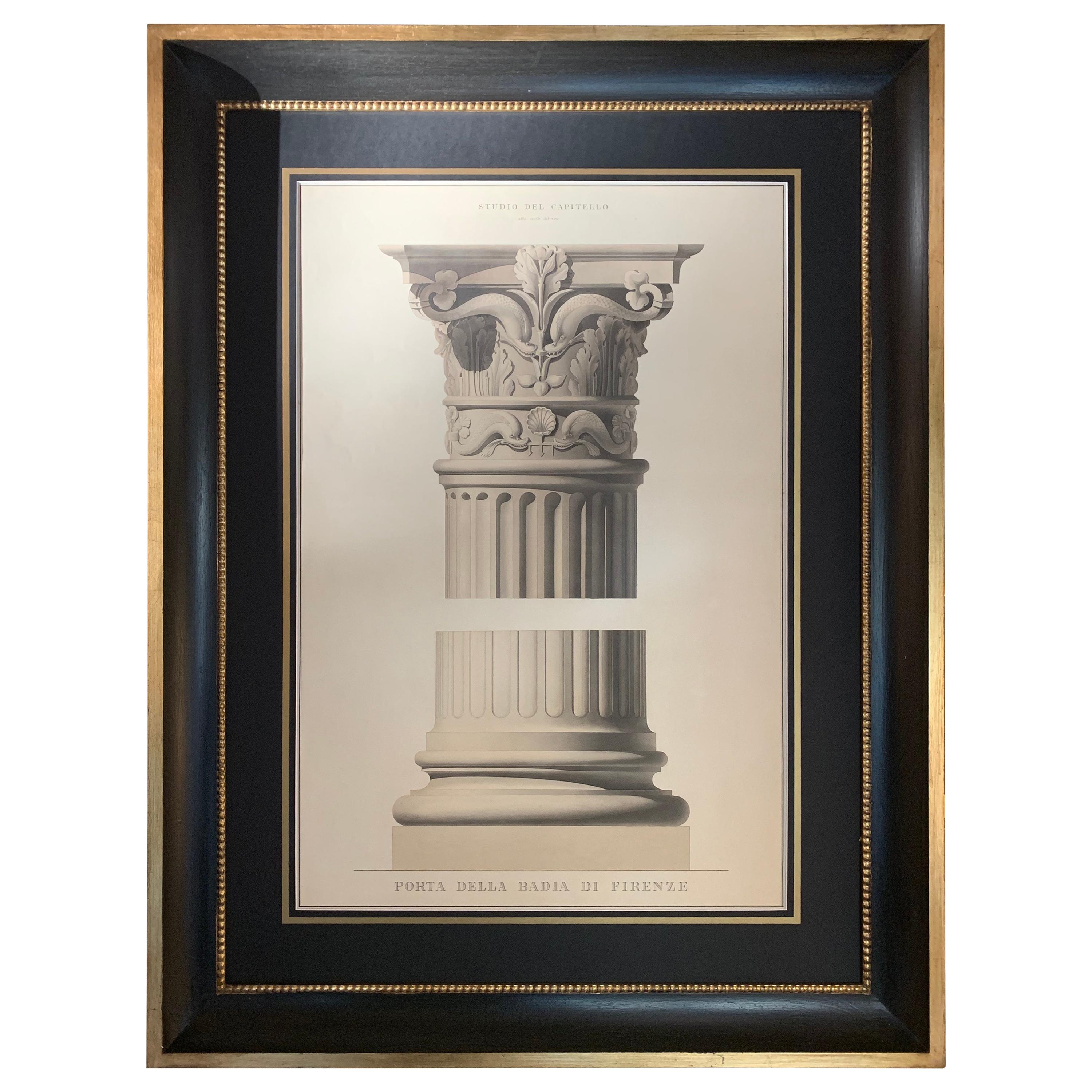 Italian 19C Big Architectural Hand-coloured Print with Black and Gold Frame