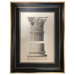 Rare Extralarge Antique Watercolor of a Capital