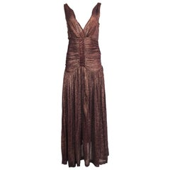 Rare & Extraordinary 1920s Burgundy and Gold Metallic Lame Plunge Dress