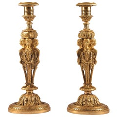 Rare, Extremely High Quality Candlesticks with Caryatides, 19th Century