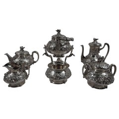 Rare and Fabulous Tiffany Bird's Nest 6-Piece Coffee and Tea Set