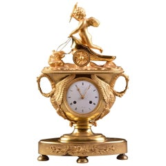 "Rare Famous French Empire Clock ""Hunting Amor"", with Cupid and Chariot"