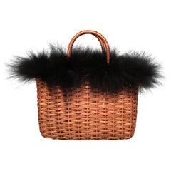 RARE Fendi Mini Wicker Basket Black Fox Fur Trim Handbag