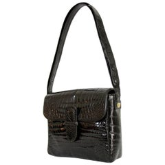 Rare Fendi Roma Vintage Black Leather Crocodile Shoulder Bag 1970s