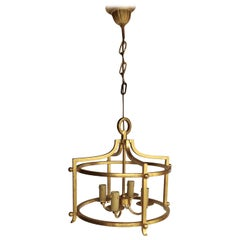 "Rare ""fer battu"" Gold Leaf Chandelier by Henri Pouenat, France, 1960s"