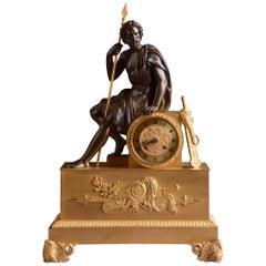 Rare Figural French Patinated Gilt Bronze Clock, Ulysses, circa 1810