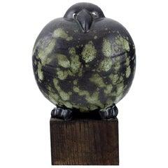 Rare Figure, Lisa Larson for Gustavsberg, Black Bird in Glazed Ceramics, 1990s