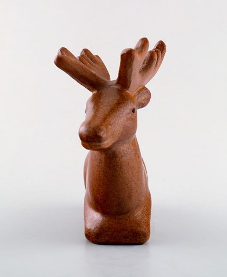 Rare figure, Lisa Larson for Jie Stengods-ateljé. Deer. Glazed ceramics.