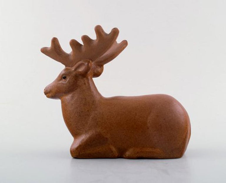 Scandinavian Modern Rare Figure, Lisa Larson for Jie Stengods-Ateljé, Deer, Glazed Ceramics For Sale