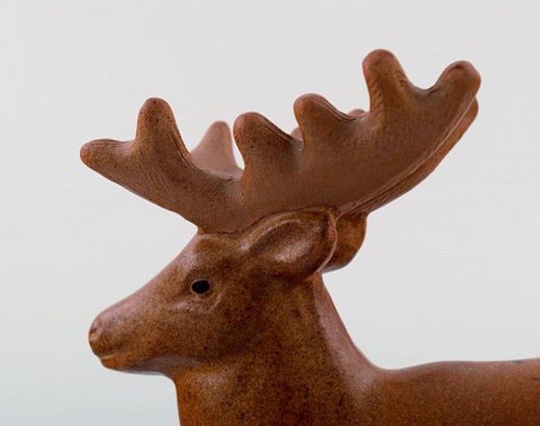 Rare Figure, Lisa Larson for Jie Stengods-Ateljé, Deer, Glazed Ceramics In Excellent Condition For Sale In Copenhagen, Denmark