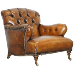 Rare Find Early Victorian Walnut Howard and Son's Fully Restored Club Armchair