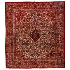 Rare and Fine Antique Persian Sarouk Carpet, Ivory Field, circa 1940s