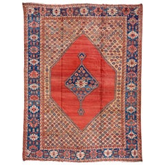 Rare Fine Antique Persian Serapi Mansion Carpet, Bright Colors, Blue Border