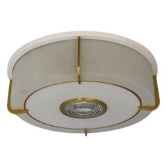 Rare Fine French Art Deco Glass and Bronze Round Flush Mount by Jean Perzel