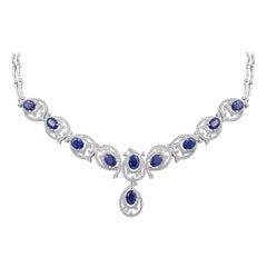 Rare Fine Jewellery Blue Sapphire Diamond White Gold Drop Link Necklace