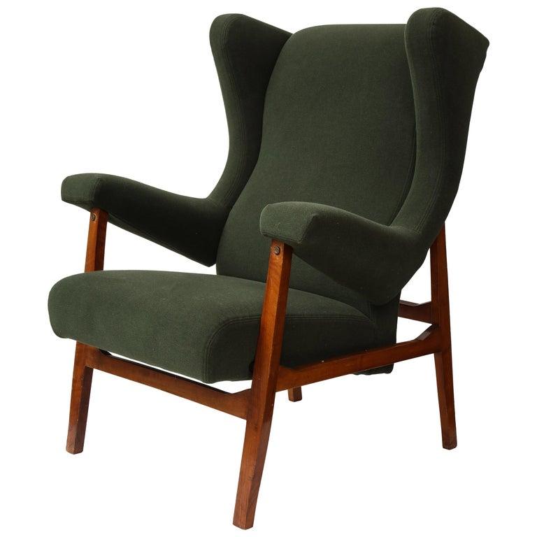 "Rare ""Fiorenza"" Green Cashmere Armchair by Franco Albini, Italy, c. 1953 For Sale"